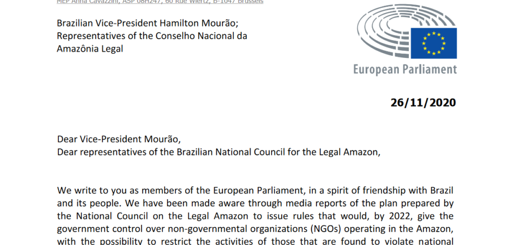 Letter to Brazilian Vice-President